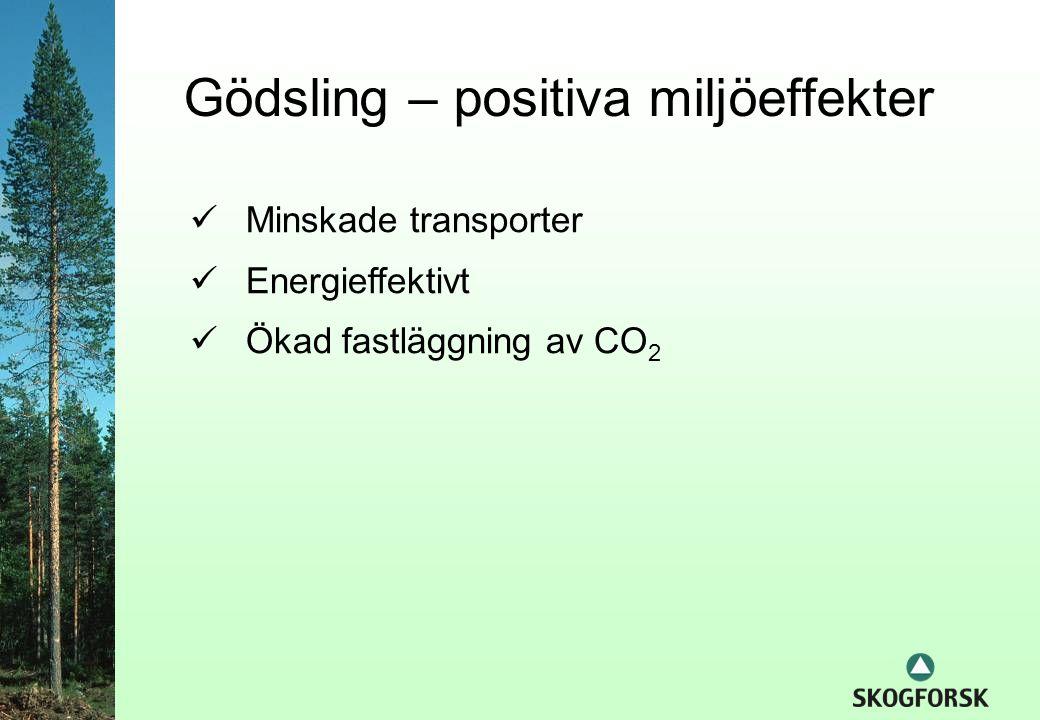  Minskade transporter  Energieffektivt  Ökad fastläggning av CO 2 Gödsling – positiva miljöeffekter