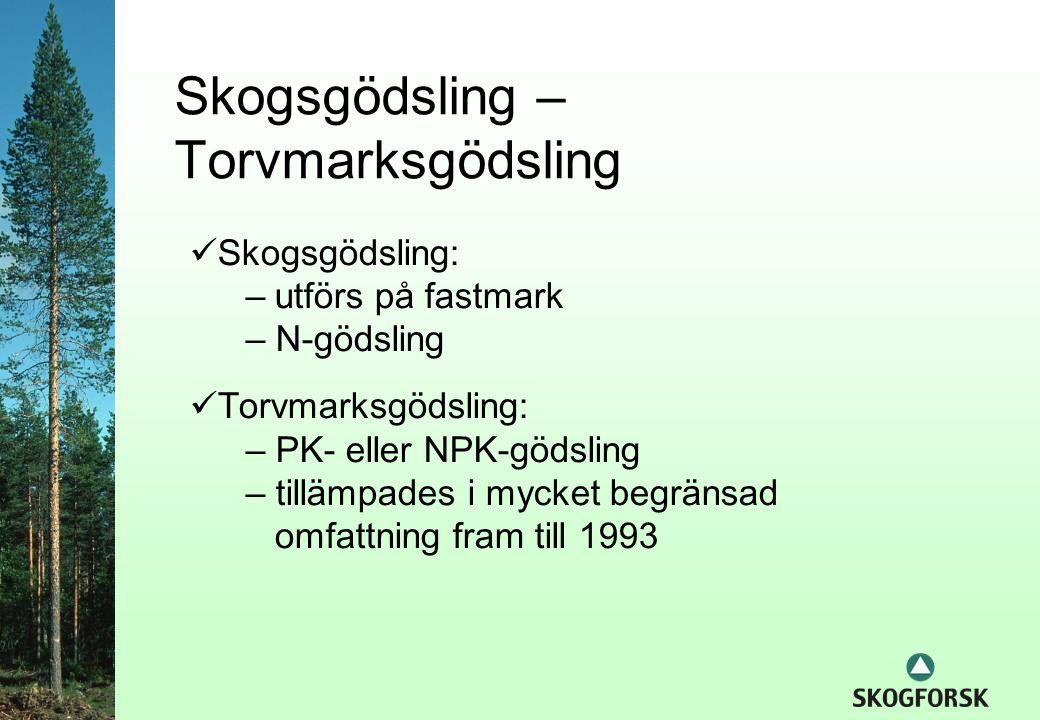 Skogsgödsling – Torvmarksgödsling  Skogsgödsling: –utförs på fastmark – N-gödsling  Torvmarksgödsling: – PK- eller NPK-gödsling – tillämpades i mycket begränsad omfattning fram till 1993