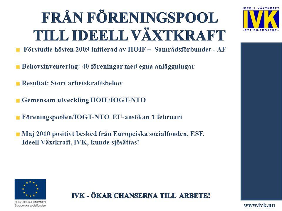 Förstudie hösten 2009 initierad av HOIF – Samrådsförbundet - AF Behovsinventering: 40 föreningar med egna anläggningar Resultat: Stort arbetskraftsbeh