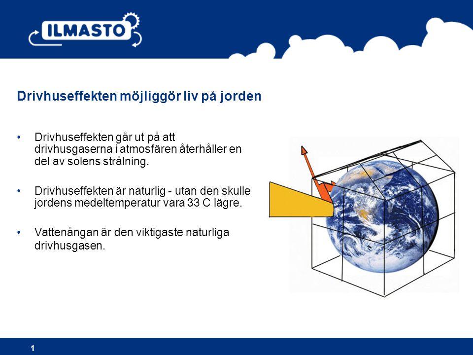 •Drivhuseffekten går ut på att drivhusgaserna i atmosfären återhåller en del av solens strålning. •Drivhuseffekten är naturlig - utan den skulle jorde