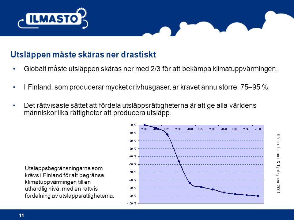 •Globalt måste utsläppen skäras ner med 2/3 för att bekämpa klimatuppvärmingen. •I Finland, som producerar mycket drivhusgaser, är kravet ännu större:
