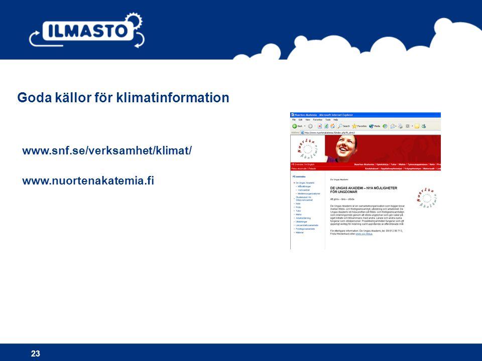 Goda källor för klimatinformation www.snf.se/verksamhet/klimat/ www.nuortenakatemia.fi 23
