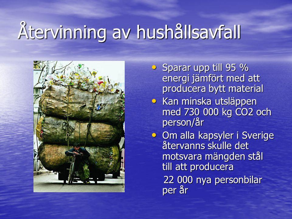 Återvinning av hushållsavfall • Sparar upp till 95 % energi jämfört med att producera bytt material • Kan minska utsläppen med 730 000 kg CO2 och pers