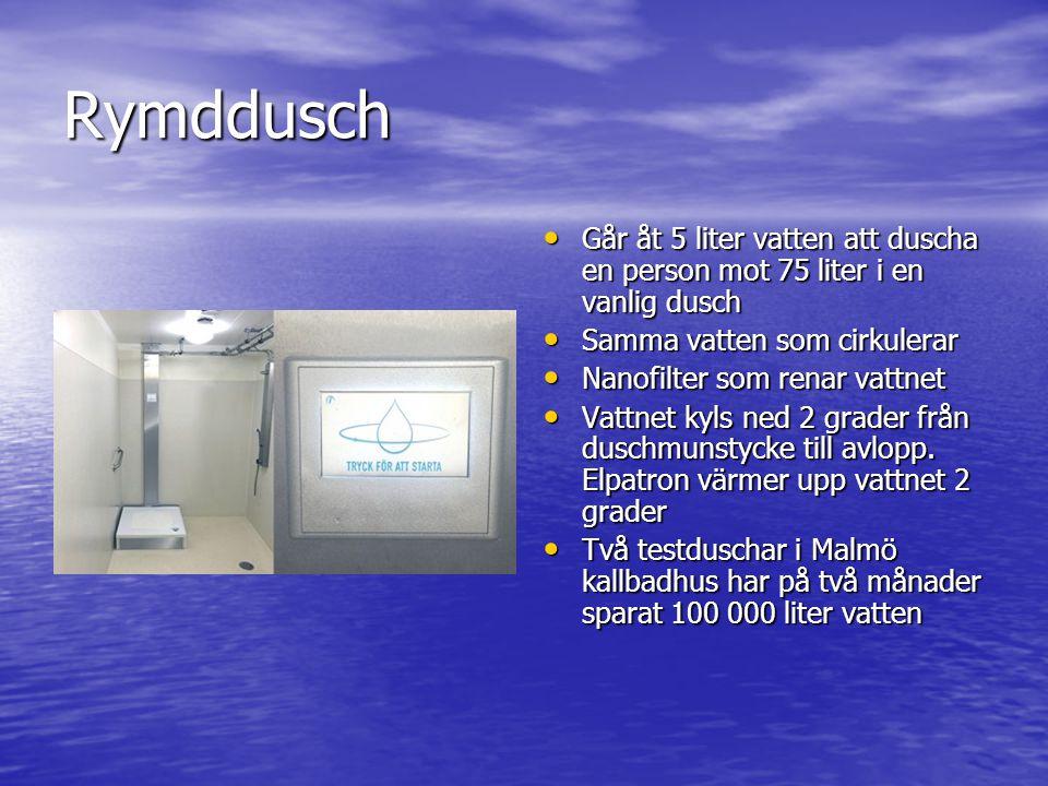 Rymddusch • Går åt 5 liter vatten att duscha en person mot 75 liter i en vanlig dusch • Samma vatten som cirkulerar • Nanofilter som renar vattnet • V