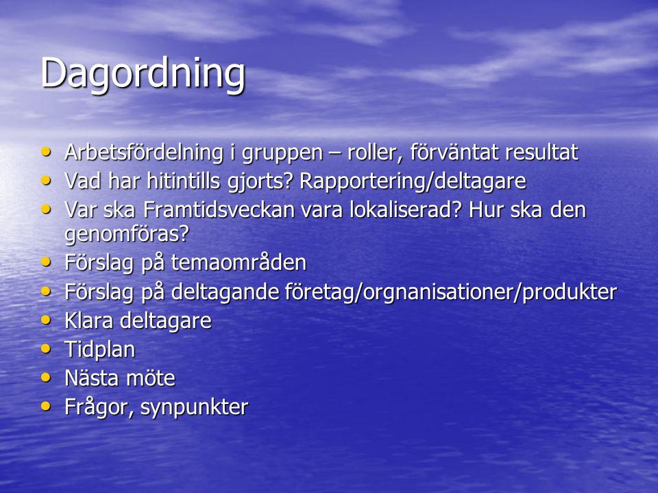 Dagordning • Arbetsfördelning i gruppen – roller, förväntat resultat • Vad har hitintills gjorts? Rapportering/deltagare • Var ska Framtidsveckan vara