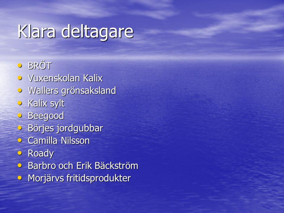 Klara deltagare • BRÖT • Vuxenskolan Kalix • Wallers grönsaksland • Kalix sylt • Beegood • Börjes jordgubbar • Camilla Nilsson • Roady • Barbro och Er