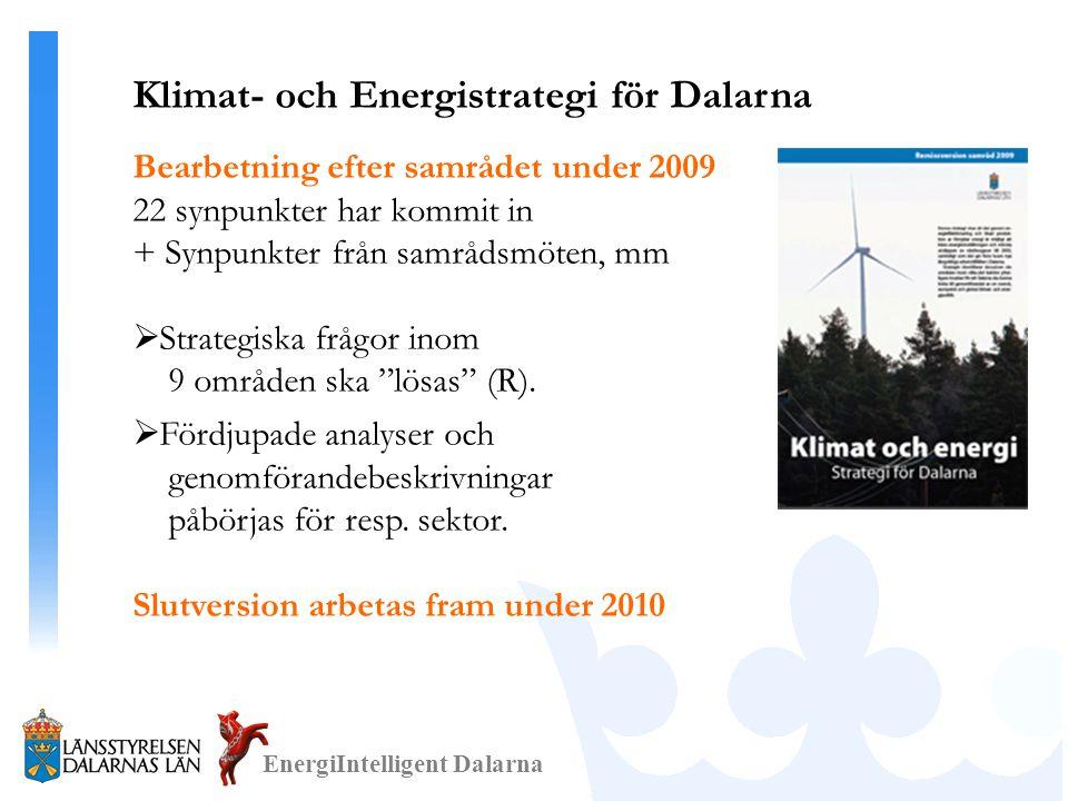 EnergiIntelligent Dalarna Klimat- och Energistrategi för Dalarna Bearbetning efter samrådet under 2009 22 synpunkter har kommit in + Synpunkter från samrådsmöten, mm  Strategiska frågor inom 9 områden ska lösas (R).
