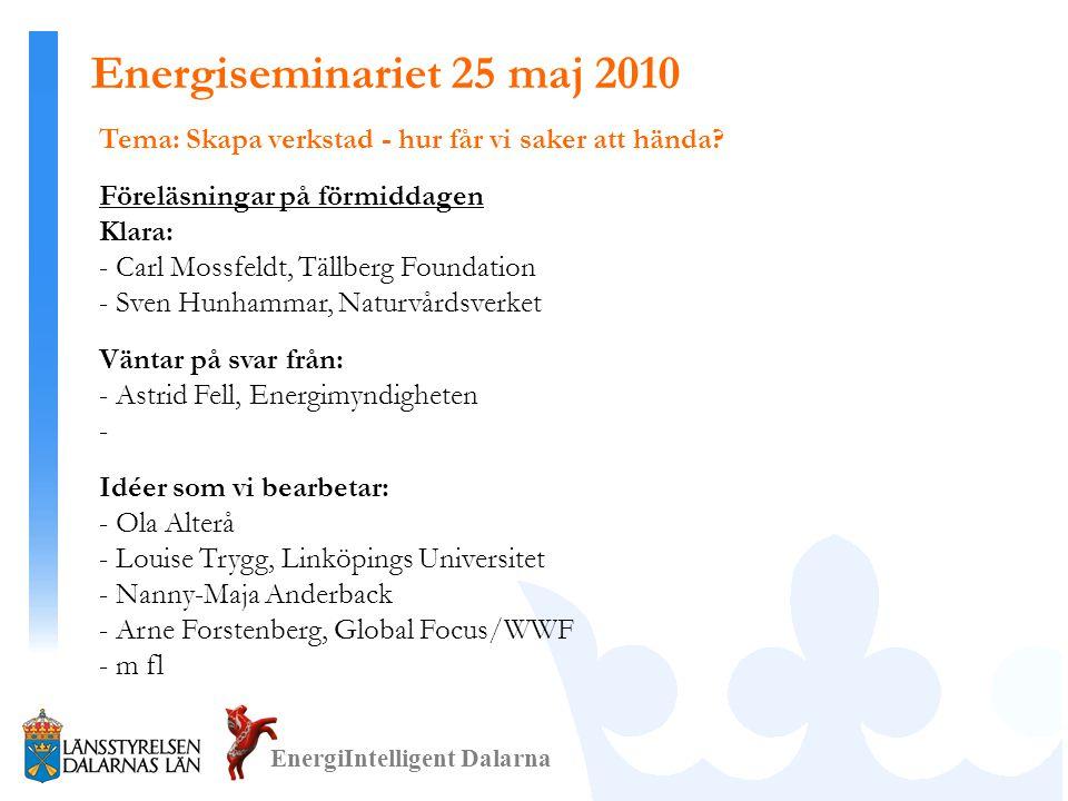 Tema: Skapa verkstad - hur får vi saker att hända? Föreläsningar på förmiddagen Klara: - Carl Mossfeldt, Tällberg Foundation - Sven Hunhammar, Naturvå