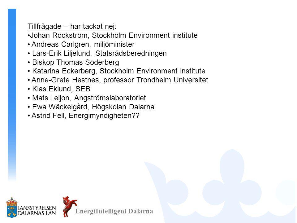 EnergiIntelligent Dalarna Tillfrågade – har tackat nej: •Johan Rockström, Stockholm Environment institute • Andreas Carlgren, miljöminister • Lars-Eri