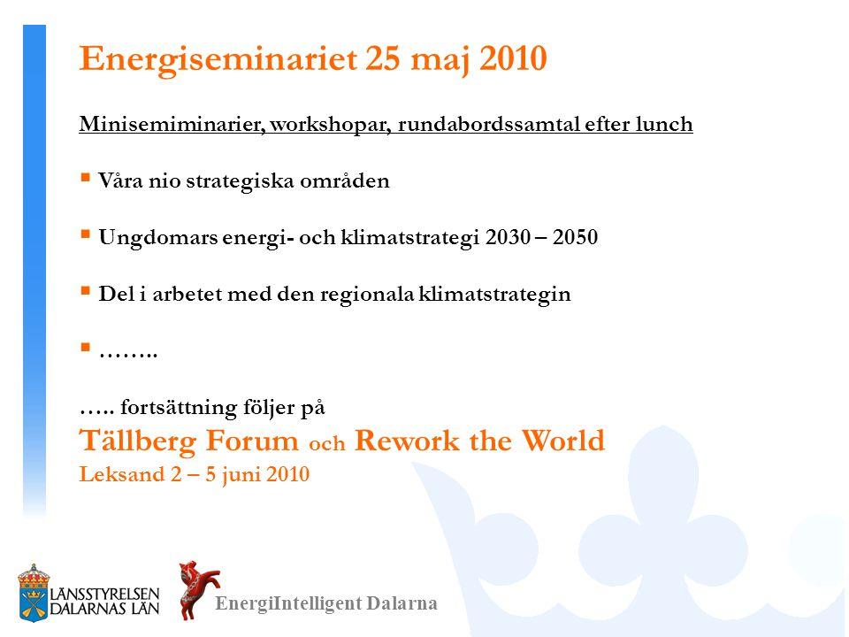 EnergiIntelligent Dalarna Minisemiminarier, workshopar, rundabordssamtal efter lunch  Våra nio strategiska områden  Ungdomars energi- och klimatstrategi 2030 – 2050  Del i arbetet med den regionala klimatstrategin  ……..