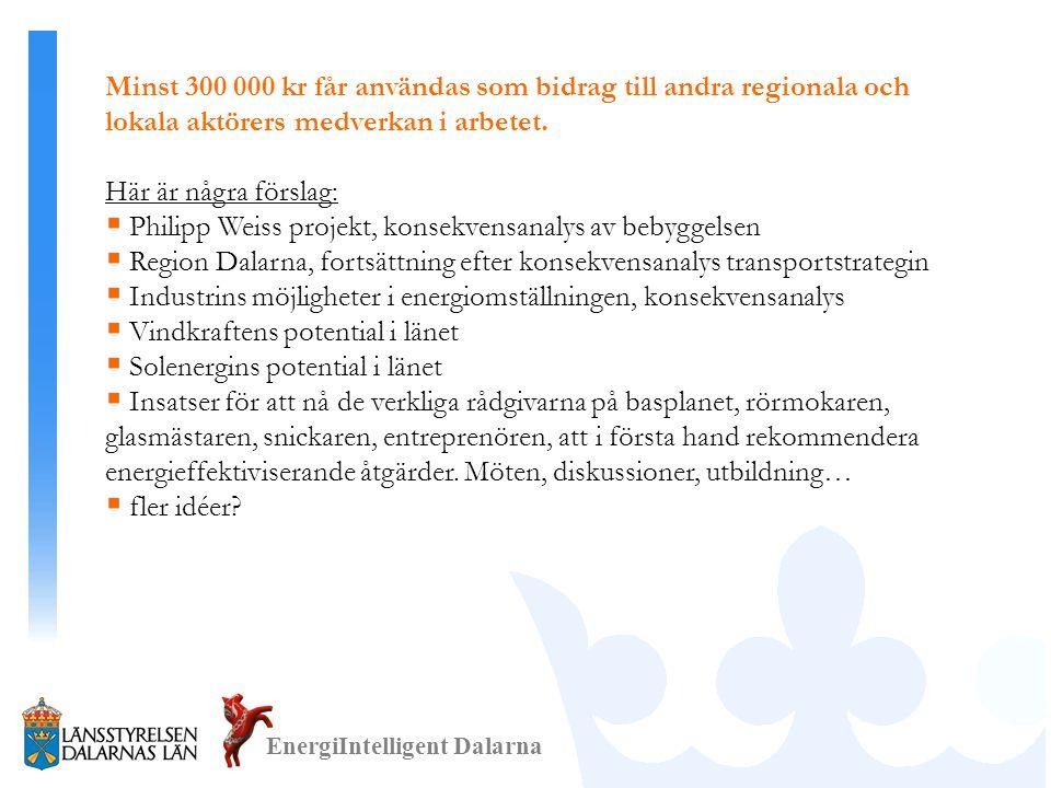 EnergiIntelligent Dalarna Minst 300 000 kr får användas som bidrag till andra regionala och lokala aktörers medverkan i arbetet.