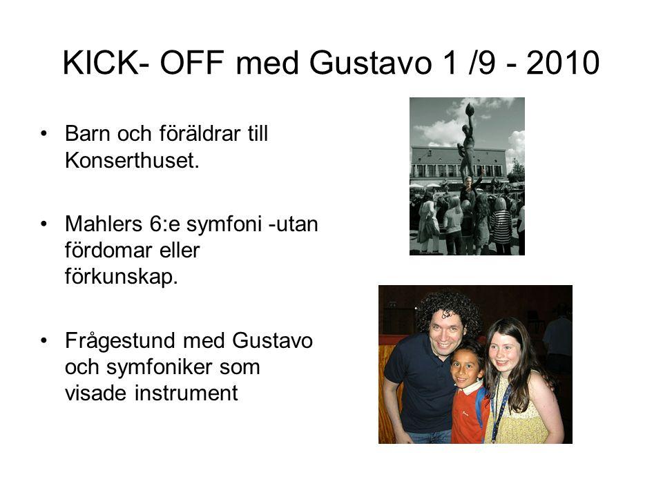 KICK- OFF med Gustavo 1 /9 - 2010 •Barn och föräldrar till Konserthuset. •Mahlers 6:e symfoni -utan fördomar eller förkunskap. •Frågestund med Gustavo