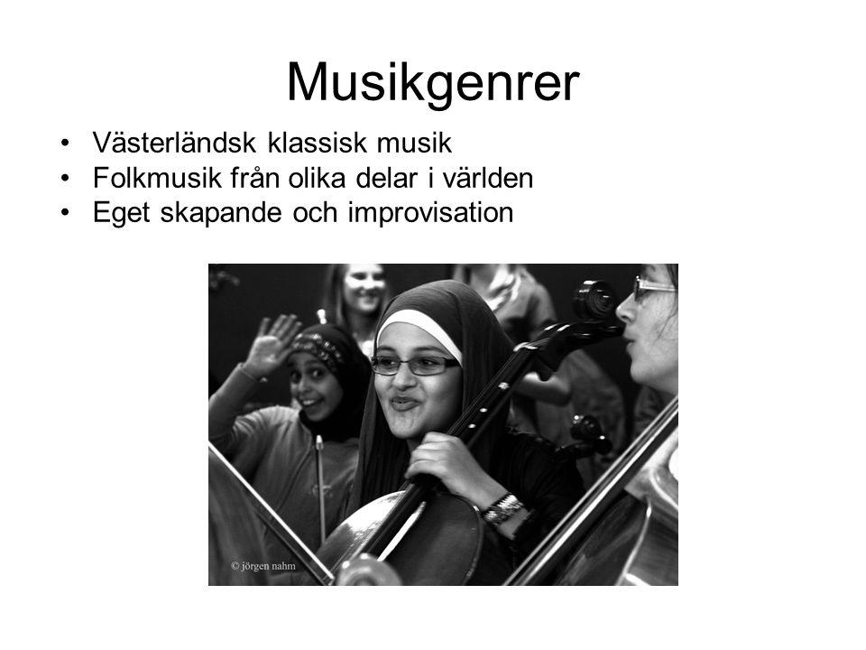 Musikgenrer •Västerländsk klassisk musik •Folkmusik från olika delar i världen •Eget skapande och improvisation