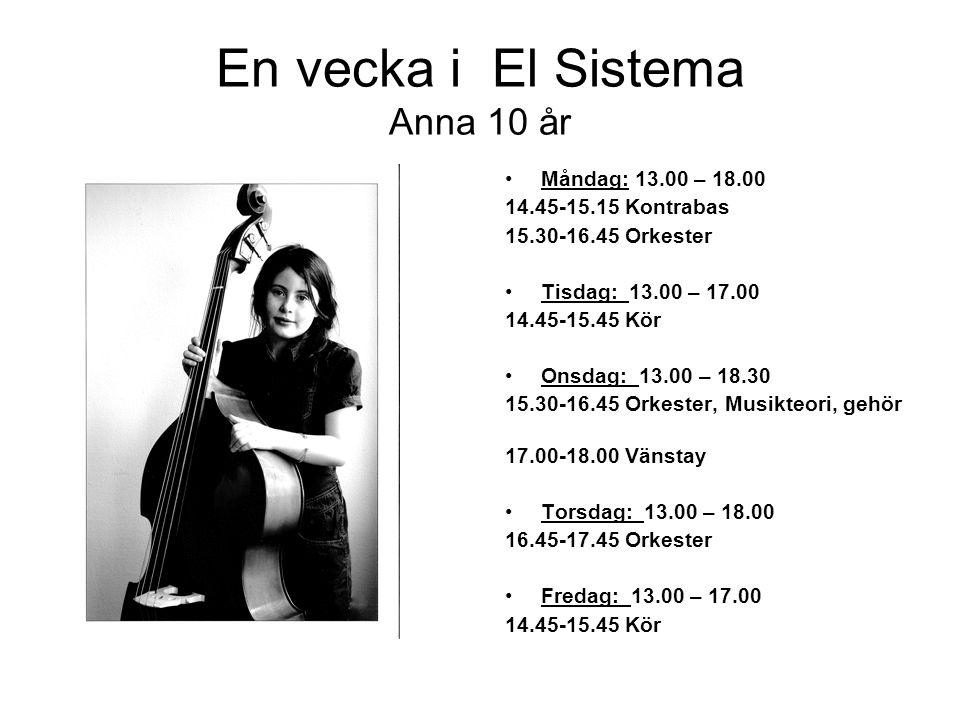 En vecka i El Sistema Anna 10 år •Måndag: 13.00 – 18.00 14.45-15.15 Kontrabas 15.30-16.45 Orkester •Tisdag: 13.00 – 17.00 14.45-15.45 Kör •Onsdag: 13.