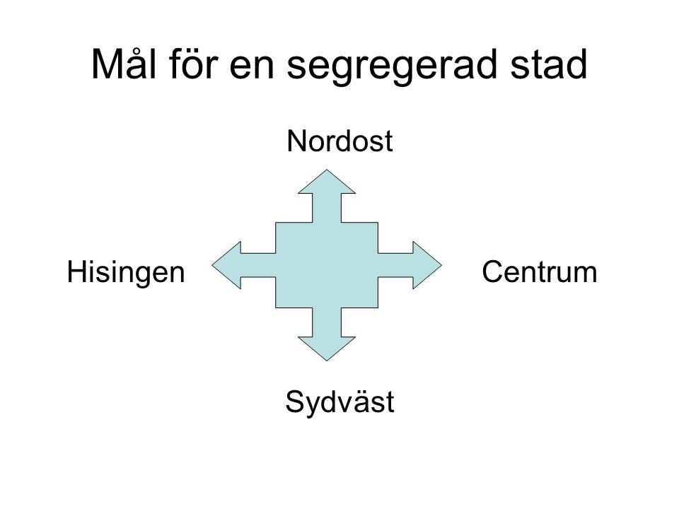Mål för en segregerad stad Nordost Hisingen Centrum Sydväst