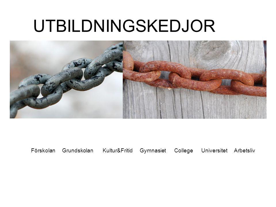 UTBILDNINGSKEDJOR Förskolan Grundskolan Kultur&Fritid Gymnasiet College Universitet Arbetsliv