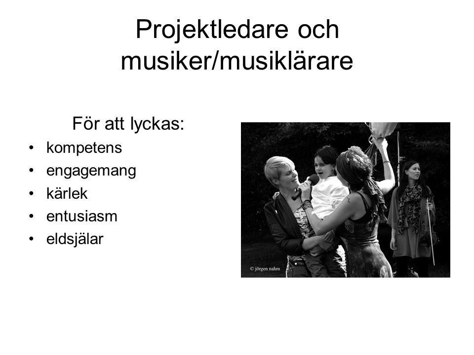 Projektledare och musiker/musiklärare För att lyckas: •kompetens •engagemang •kärlek •entusiasm •eldsjälar