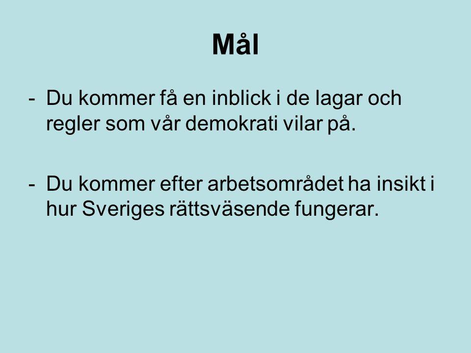 Mål -Du kommer få en inblick i de lagar och regler som vår demokrati vilar på. -Du kommer efter arbetsområdet ha insikt i hur Sveriges rättsväsende fu