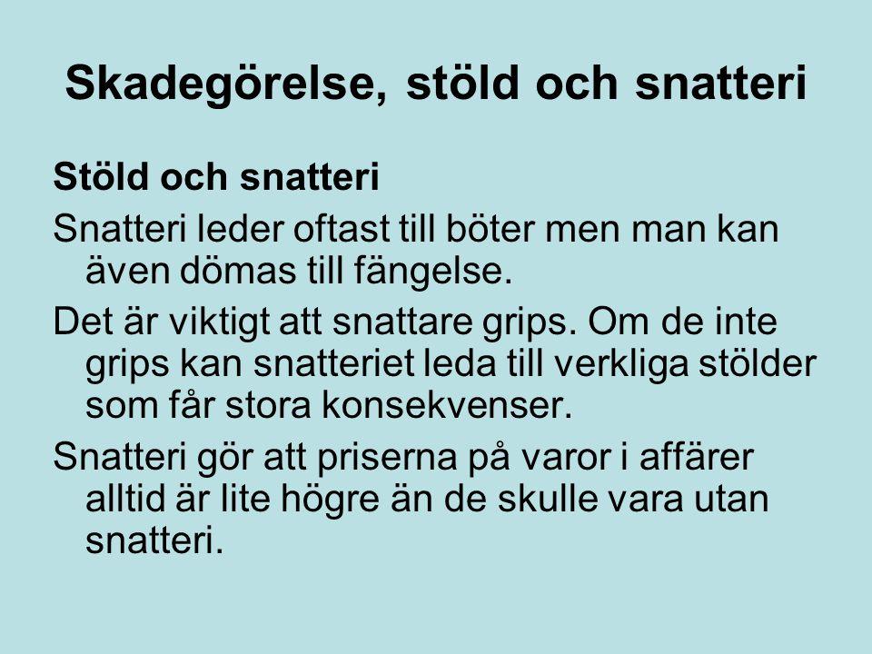 Skadegörelse, stöld och snatteri Stöld och snatteri Snatteri leder oftast till böter men man kan även dömas till fängelse. Det är viktigt att snattare