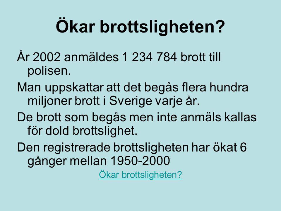 Ökar brottsligheten? År 2002 anmäldes 1 234 784 brott till polisen. Man uppskattar att det begås flera hundra miljoner brott i Sverige varje år. De br