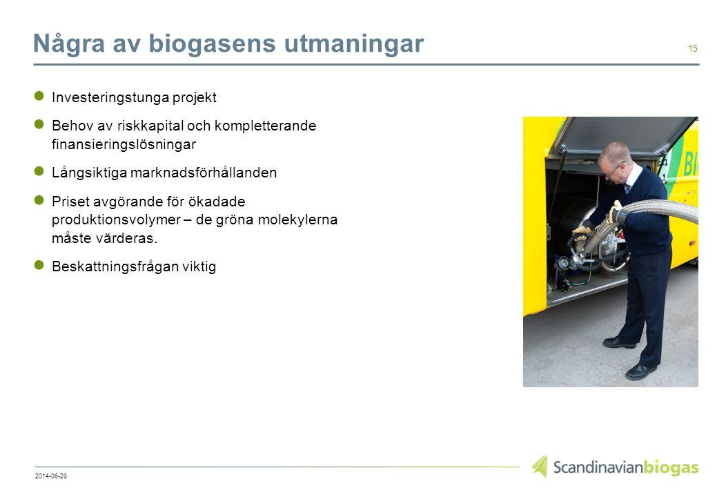 Några av biogasens utmaningar ● Investeringstunga projekt ● Behov av riskkapital och kompletterande finansieringslösningar ● Långsiktiga marknadsförhållanden ● Priset avgörande för ökadade produktionsvolymer – de gröna molekylerna måste värderas.