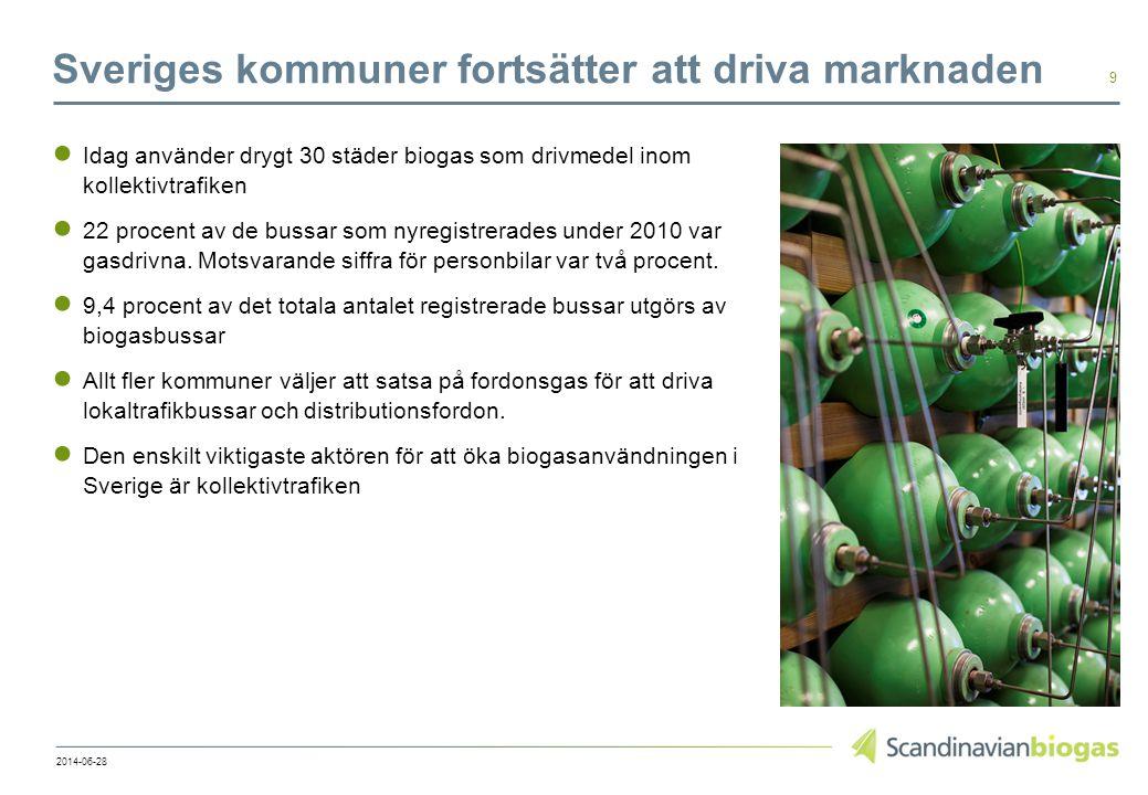 Sveriges kommuner fortsätter att driva marknaden ● Idag använder drygt 30 städer biogas som drivmedel inom kollektivtrafiken ● 22 procent av de bussar