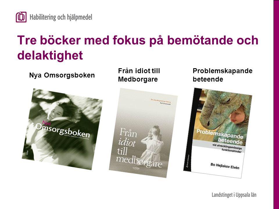 Tre böcker med fokus på bemötande och delaktighet Nya Omsorgsboken Från idiot till Medborgare Problemskapande beteende