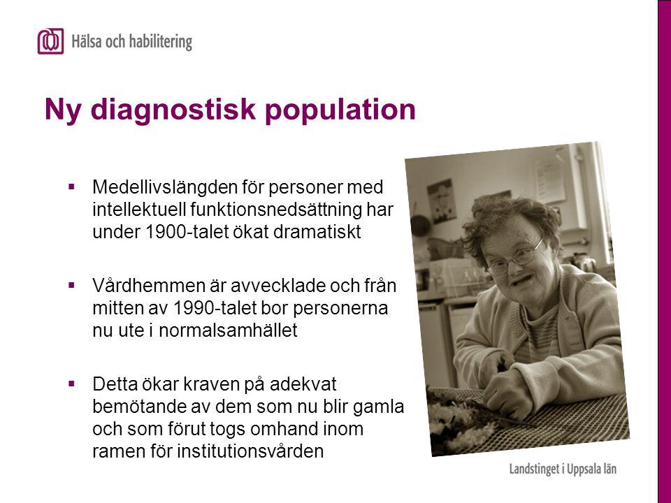 Problem vid demensdiagnostik av personer med utvecklingsstörning  Nedsatta funktioner redan från början gör det svårt att upptäcka bortfall  Symtomen yttrar sig på andra sätt hos personer med utvecklingsstörning än hos normalstörda.