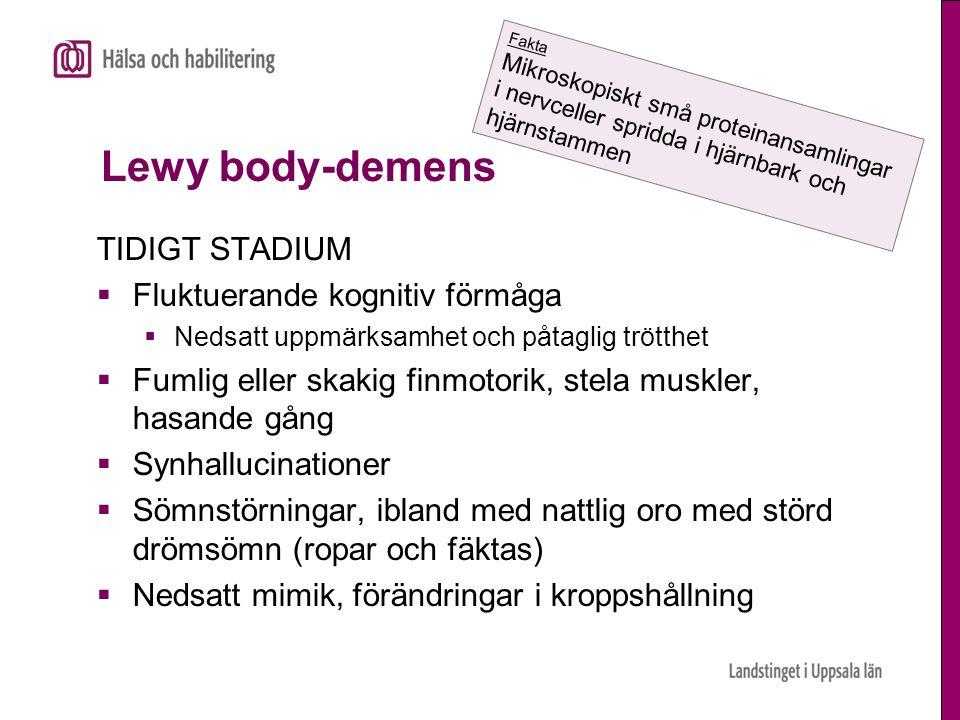 Lewy body-demens TIDIGT STADIUM  Fluktuerande kognitiv förmåga  Nedsatt uppmärksamhet och påtaglig trötthet  Fumlig eller skakig finmotorik, stela