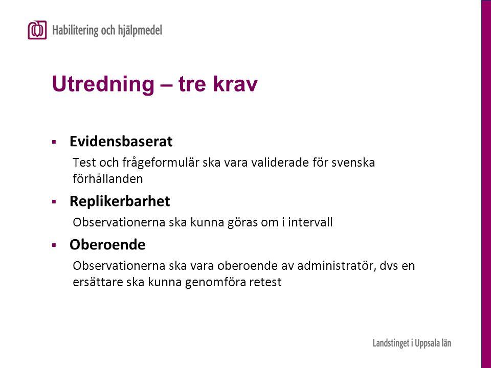 Utredning – tre krav  Evidensbaserat Test och frågeformulär ska vara validerade för svenska förhållanden  Replikerbarhet Observationerna ska kunna g