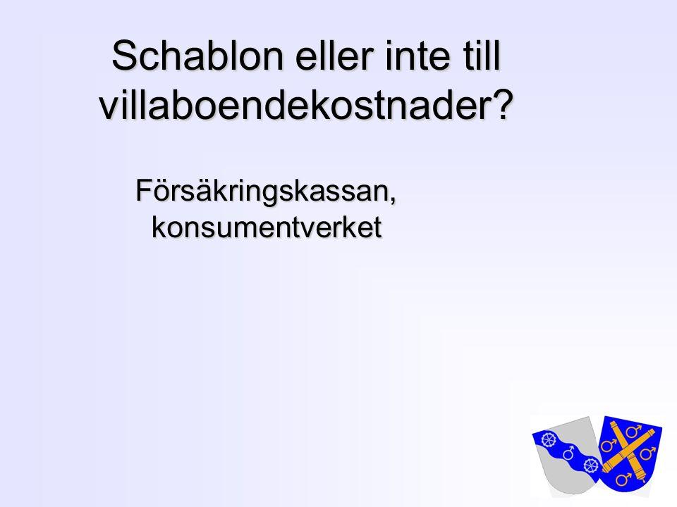 1 Schablon eller inte till villaboendekostnader? Försäkringskassan, konsumentverket