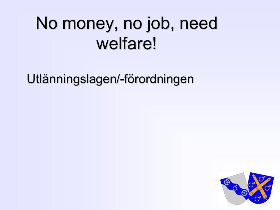 13 No money, no job, need welfare! Utlänningslagen/-förordningen