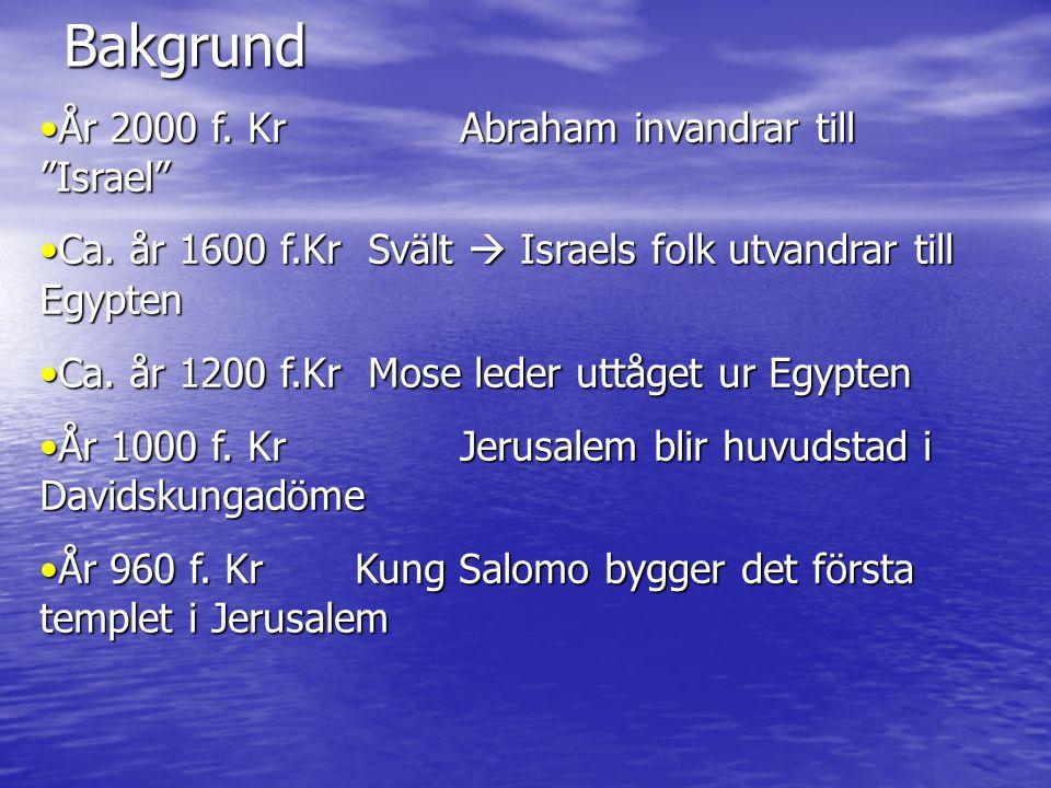 """Bakgrund •År 2000 f. Kr Abraham invandrar till """"Israel"""" •Ca. år 1600 f.Kr Svält  Israels folk utvandrar till Egypten •Ca. år 1200 f.Kr Mose leder utt"""