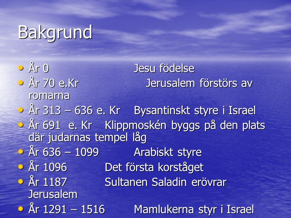 Mer Religions historia • 1517 – 1917Ottomanskt styre • 1896Teodore Herzl skriver Judestaten • 1914 – 1918VK 1 • 1917Britterna kom • 1918 - 1922 Brittiska protektoratet Palestina-Jordanien • 1922 – 1948Brittiska protektoretet Palestina • 1939 – 1945 VK 2 Förintelsen 6 miljoner judar • 1948Staten Israel bildas