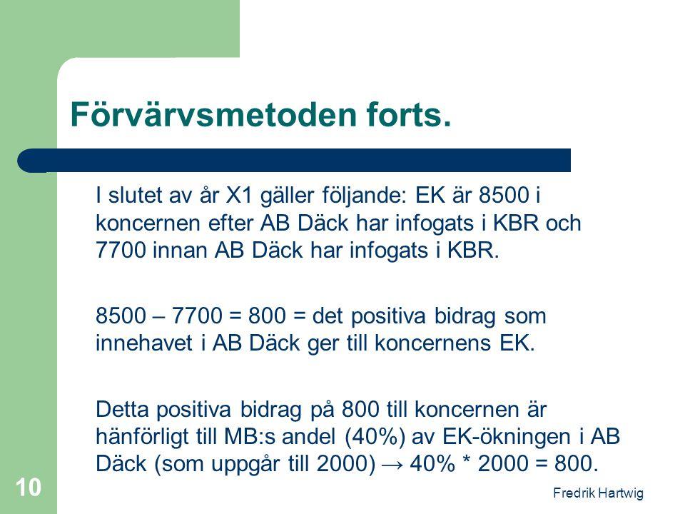 Fredrik Hartwig 10 Förvärvsmetoden forts. I slutet av år X1 gäller följande: EK är 8500 i koncernen efter AB Däck har infogats i KBR och 7700 innan AB
