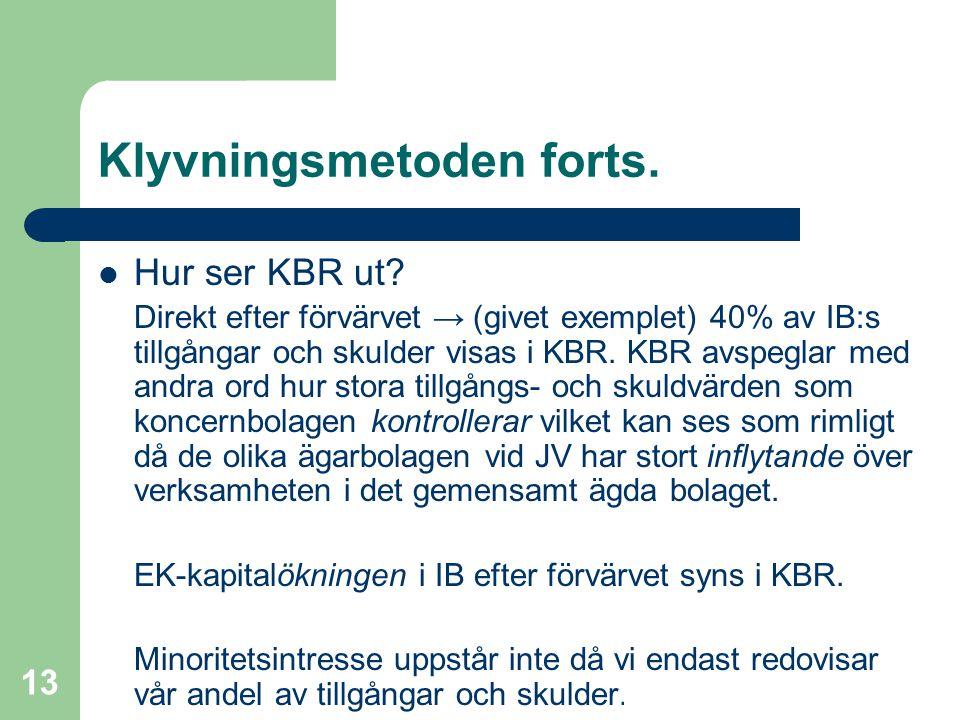 Fredrik Hartwig 2008-02-19 13 Klyvningsmetoden forts.  Hur ser KBR ut? Direkt efter förvärvet → (givet exemplet) 40% av IB:s tillgångar och skulder v