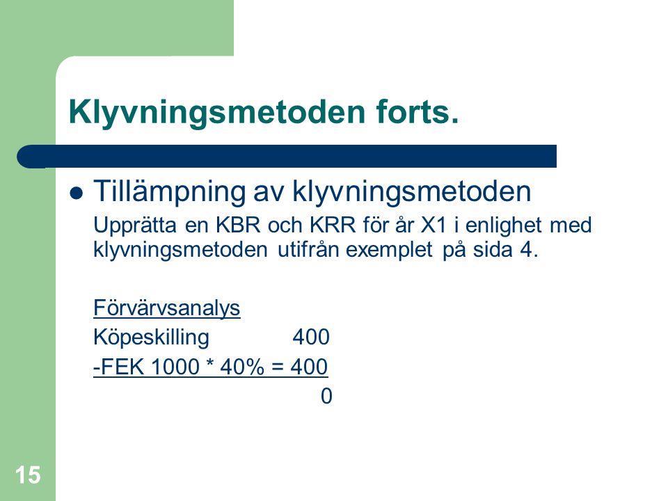 Fredrik Hartwig 2008-02-19 15 Klyvningsmetoden forts.  Tillämpning av klyvningsmetoden Upprätta en KBR och KRR för år X1 i enlighet med klyvningsmeto