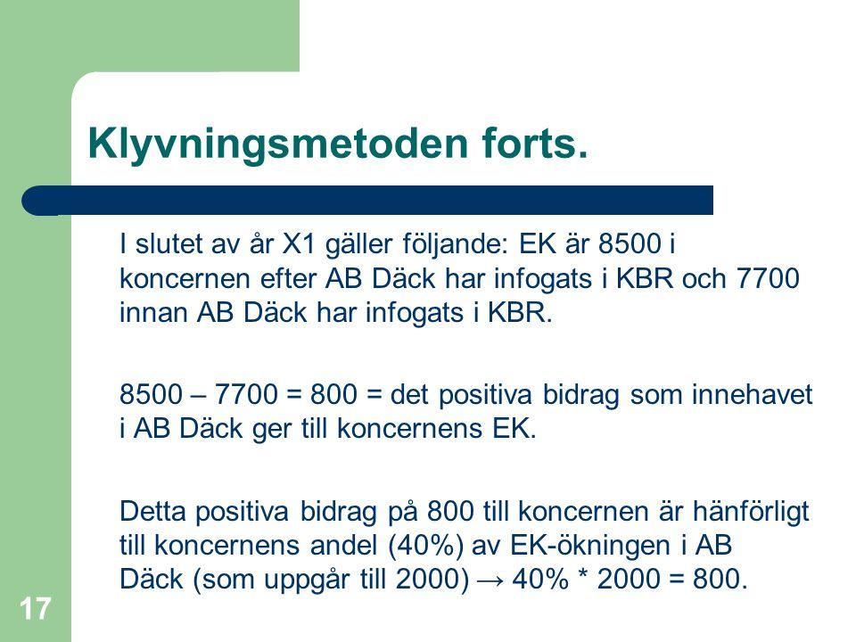 Fredrik Hartwig 2008-02-19 17 Klyvningsmetoden forts. I slutet av år X1 gäller följande: EK är 8500 i koncernen efter AB Däck har infogats i KBR och 7