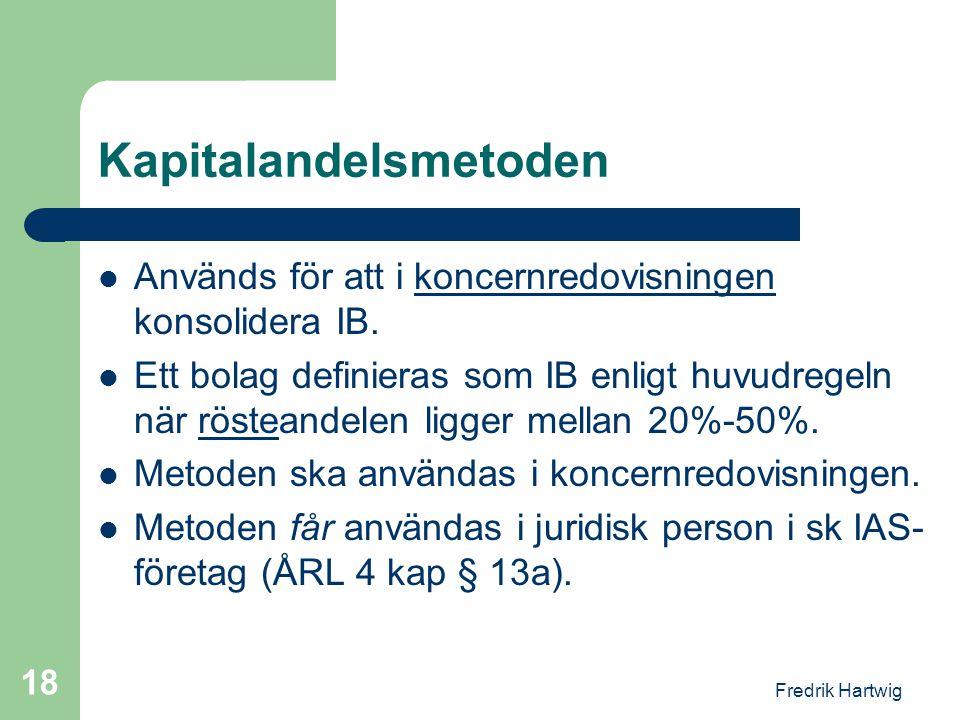 Fredrik Hartwig 18 Kapitalandelsmetoden  Används för att i koncernredovisningen konsolidera IB.  Ett bolag definieras som IB enligt huvudregeln när
