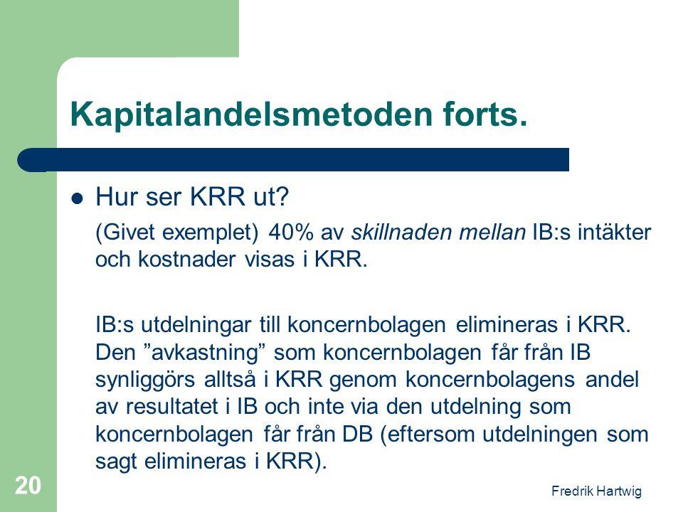 Fredrik Hartwig 20 Kapitalandelsmetoden forts.  Hur ser KRR ut? (Givet exemplet) 40% av skillnaden mellan IB:s intäkter och kostnader visas i KRR. IB