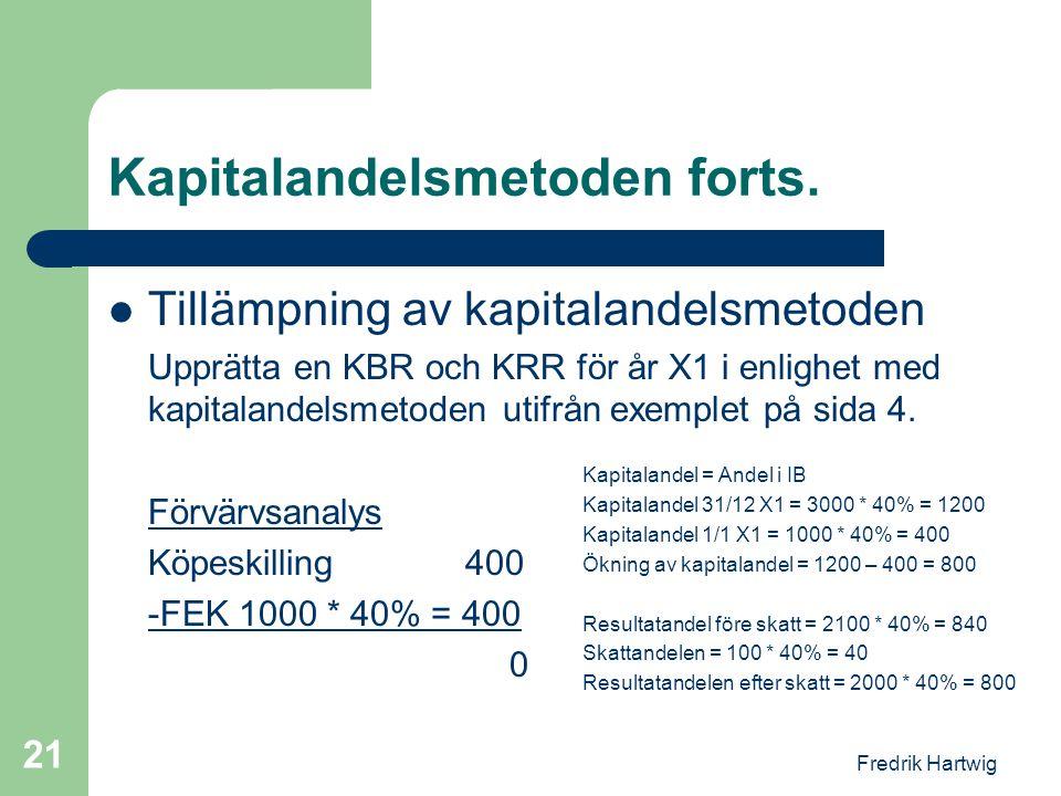 Fredrik Hartwig 21 Kapitalandelsmetoden forts.  Tillämpning av kapitalandelsmetoden Upprätta en KBR och KRR för år X1 i enlighet med kapitalandelsmet