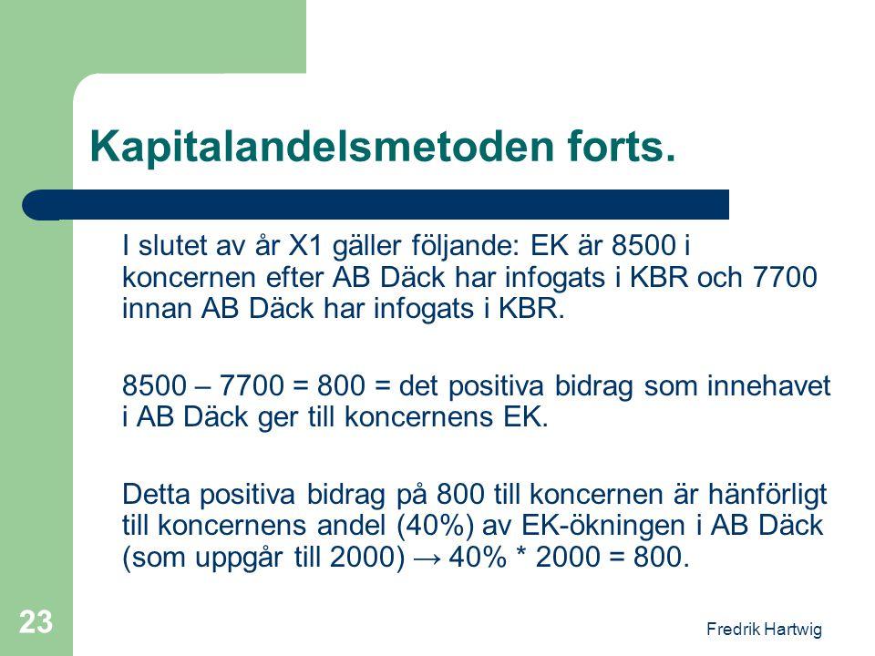 Fredrik Hartwig 23 Kapitalandelsmetoden forts. I slutet av år X1 gäller följande: EK är 8500 i koncernen efter AB Däck har infogats i KBR och 7700 inn