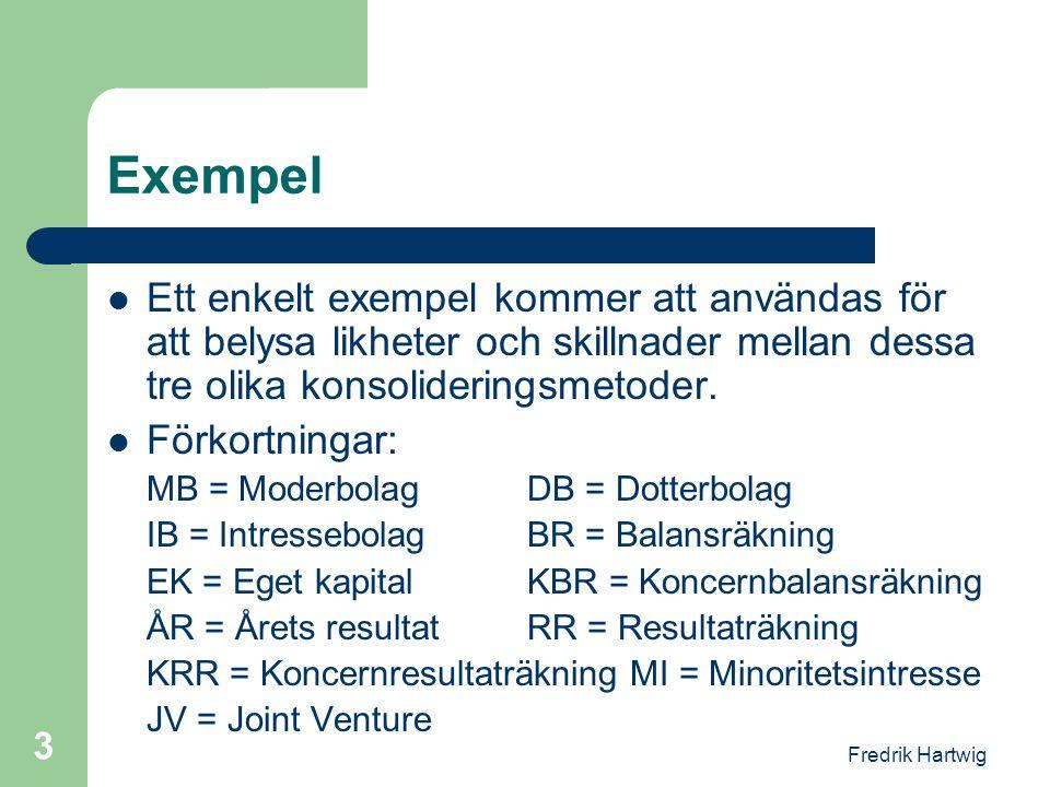 Fredrik Hartwig 3 Exempel  Ett enkelt exempel kommer att användas för att belysa likheter och skillnader mellan dessa tre olika konsolideringsmetoder