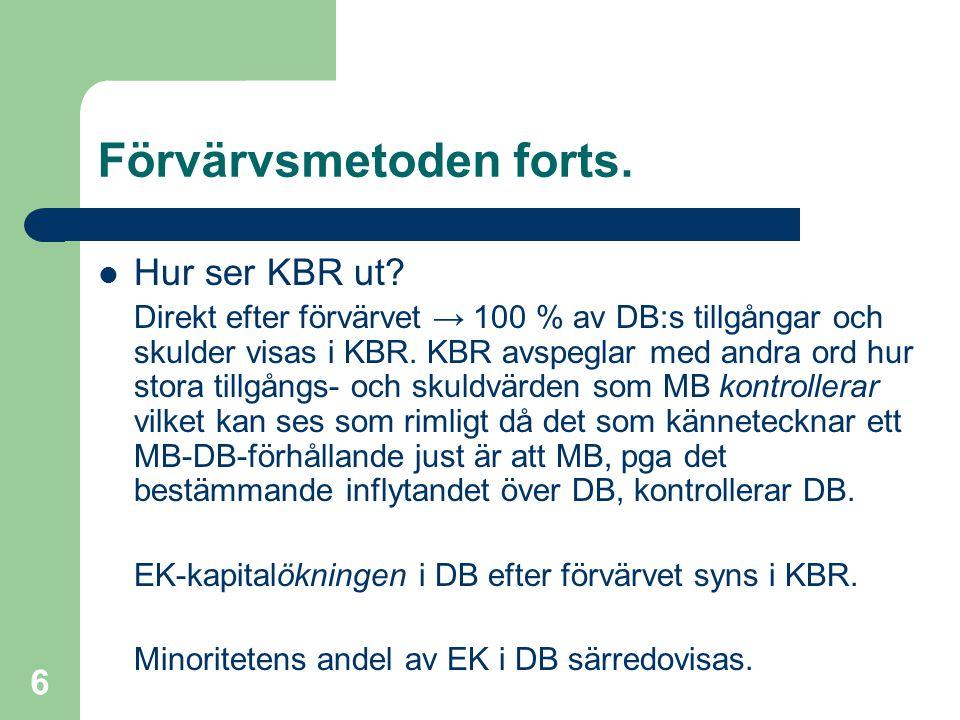 Fredrik Hartwig 2008-02-19 6 Förvärvsmetoden forts.  Hur ser KBR ut? Direkt efter förvärvet → 100 % av DB:s tillgångar och skulder visas i KBR. KBR a