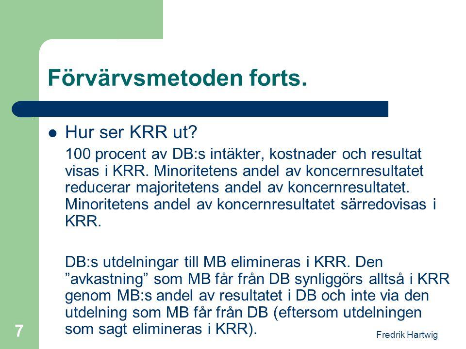 Fredrik Hartwig 7 Förvärvsmetoden forts.  Hur ser KRR ut? 100 procent av DB:s intäkter, kostnader och resultat visas i KRR. Minoritetens andel av kon