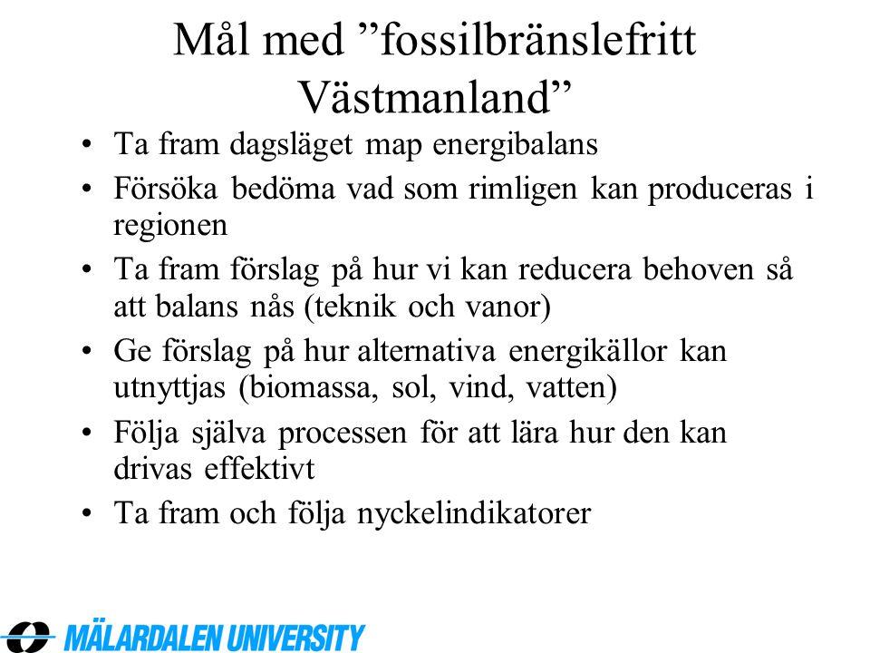 """Mål med """"fossilbränslefritt Västmanland"""" •Ta fram dagsläget map energibalans •Försöka bedöma vad som rimligen kan produceras i regionen •Ta fram försl"""
