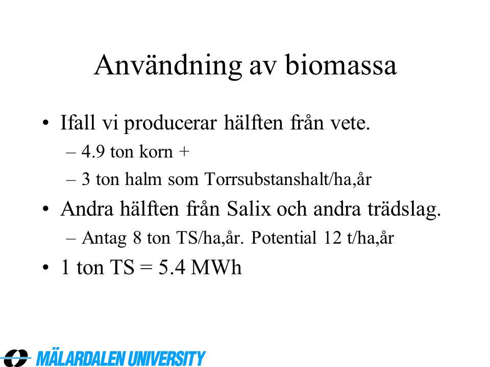 Användning av biomassa •Ifall vi producerar hälften från vete. –4.9 ton korn + –3 ton halm som Torrsubstanshalt/ha,år •Andra hälften från Salix och an