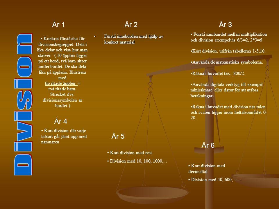 • Förstå sambandet mellan multiplikation och division exempelvis 6/3=2, 2*3=6 •Kort division, utifrån tabellerna 1-5,10. •Använda de matematiska symbo