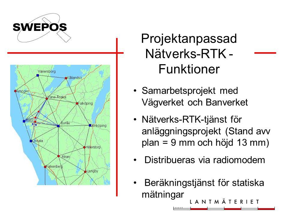 Projektanpassad Nätverks-RTK - Funktioner •Samarbetsprojekt med Vägverket och Banverket •Nätverks-RTK-tjänst för anläggningsprojekt (Stand avv plan = 9 mm och höjd 13 mm) • Distribueras via radiomodem • Beräkningstjänst för statiska mätningar