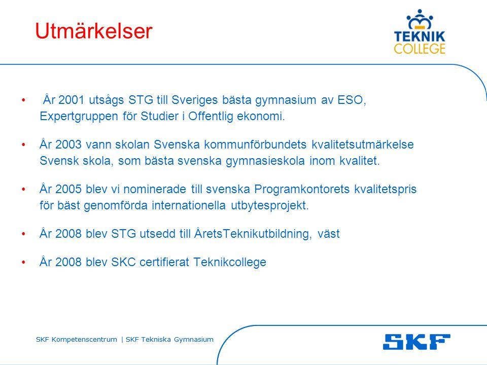 SKF Kompetenscentrum | SKF Tekniska Gymnasium Utmärkelser • År 2001 utsågs STG till Sveriges bästa gymnasium av ESO, Expertgruppen för Studier i Offen